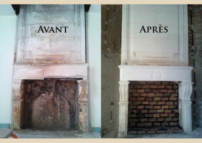 restauration cheminée taille de pierre charente
