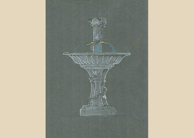 dessin fontaine sculpture taille de pierre charente nouvelle aquitaine